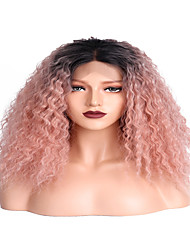 cheap -Synthetic Lace Front Wig Curly Kinky Curly Middle Part Glueless Lace Front Wig Medium Length Long Black / Pink Synthetic Hair 16 inch Women's Party Women Color Gradient Pink EEWigs
