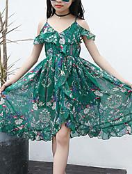 cheap -Kids Girls' Sweet Boho Daily Beach Floral Print Sleeveless Dress Green