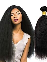 cheap -3 Bundles Peruvian Hair kinky Straight Human Hair Wig Accessories Natural Color Hair Weaves / Hair Bulk Hair Accessory 8-28 inch Natural Color Human Hair Weaves Silky Smooth Natural Human Hair