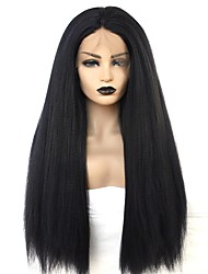 cheap -Synthetic Lace Front Wig kinky Straight Middle Part Lace Front Wig Long Natural Black Synthetic Hair 22-26 inch Women's Heat Resistant Women Middle Part Black / African American Wig
