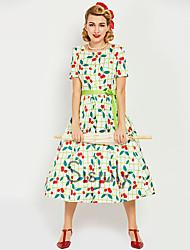 abordables -Audrey Hepburn Rétro Vintage Années 50 Années 60 Taille de guêpe Robe Femme Costume Blanche Vintage Cosplay Retour Manches Longues Court