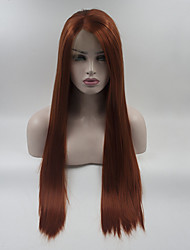 cheap -Synthetic Lace Front Wig Straight Middle Part Lace Front Wig Long Orange Synthetic Hair 18-26 inch Women's Adjustable Lace Heat Resistant Red
