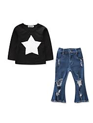 cheap -Kids Toddler Girls' Active Basic Daily Holiday Print Hole Long Sleeve Regular Cotton Clothing Set Black