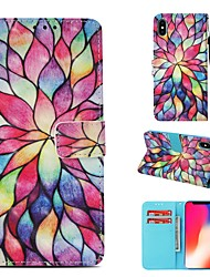cheap -Case For Apple iPhone XS Wallet / Card Holder / Flip Full Body Cases Flower Hard PU Leather