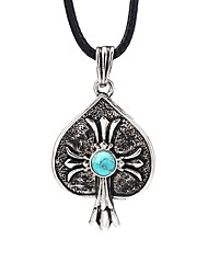 cheap -Men's Blue Turquoise Pendant Necklace Vintage Necklace Retro Engraved Cross Vintage Cord Alloy Black 99 cm Necklace Jewelry 1pc For Daily Street