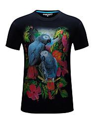 cheap -Men's Daily Slim T-shirt - Animal Chiffon Round Neck White / Short Sleeve / Summer