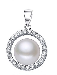 cheap -Freshwater Pearl Pendant Pearl S925 Sterling Silver For Women's Round Elegant Simple Style Fashion Event / Party Gift High Quality Classic Blessed 1pc