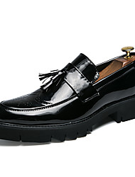 cheap -Men's Formal Shoes Novelty Shoes Casual / British Wedding Party & Evening Loafers & Slip-Ons Walking Shoes Leather / Patent Leather Warm Non-slipping Height-increasing Black / Gold / Silver