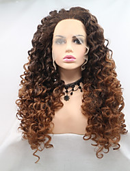 cheap -Synthetic Lace Front Wig Afro Curly Layered Haircut Lace Front Wig Long Light Brown Synthetic Hair 24 inch Women's Women Dark Brown Light Brown Sylvia