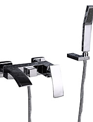 cheap -Bathtub Faucet - Contemporary Chrome Wall Mounted Ceramic Valve Bath Shower Mixer Taps / Single Handle Three Holes