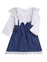 cheap -Baby Girls' Basic Solid Colored Long Sleeve Dress Blue / Toddler