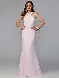 cheap -Mermaid / Trumpet V Neck Sweep / Brush Train Chiffon Bridesmaid Dress with Ruffles