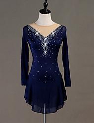 cheap -Figure Skating Dress Crystals / Rhinestones Women's Girls' Training Long Sleeve High Chinlon Tulle