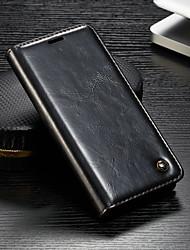 Недорогие -Кейс для Назначение Sony Sony Xperia XZ3 / Xperia XZ2 Compact / Xperia XZ2 Кошелек / Бумажник для карт / со стендом Чехол Однотонный Твердый Кожа PU