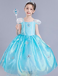 cheap -Frozen Elsa Cosplay Costume Flower Girl Dress Kid's Girls' A-Line Slip Dresses Mesh Vacation Dress Christmas Halloween Carnival Festival / Holiday Silk Organza Blue Easy Carnival Costumes Lace