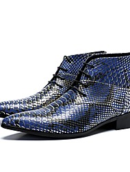 cheap -Men's Novelty Shoes Nappa Leather Fall & Winter Casual / British Boots Non-slipping Booties / Ankle Boots Blue / Wedding / Party & Evening / Party & Evening / Dress Shoes / Fashion Boots