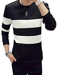 cheap -Men's Basic Long Sleeve Sweatshirt - Striped Black & White Round Neck White L / Fall