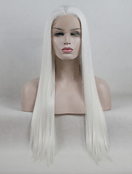 cheap -Synthetic Lace Front Wig Straight Kardashian Style Free Part Lace Front Wig White Creamy-white Synthetic Hair 18-26 inch Women's Adjustable / Lace / Heat Resistant White Wig Long 180% Density