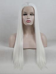 Недорогие -Синтетические кружевные передние парики Прямой Kardashian Свободная часть Лента спереди Парик Длинные Кремово-белые Искусственные волосы 18-26 дюймовый Жен. Регулируется Кружева Жаропрочная Белый