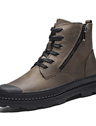 cheap -Men's Leather Shoes Nappa Leather Spring / Fall & Winter Casual / British Boots Walking Shoes Non-slipping Booties / Ankle Boots Black / Brown