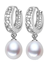 cheap -Freshwater Pearl Earrings Pearl S925 Sterling Silver For Women's Round Glam Elegant Fashion Party Event / Party High Quality Classic Lucky 1 Pair