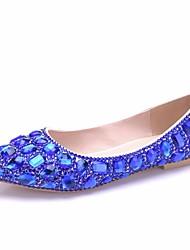 cheap -Women's PU(Polyurethane) Spring &  Fall Sweet Wedding Shoes Flat Heel Pointed Toe Rhinestone / Crystal / Sequin Royal Blue