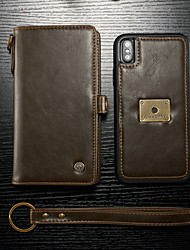 cheap -Case For Apple iPhone XS Max Wallet / Card Holder / Flip Full Body Cases Solid Colored Hard PU Leather