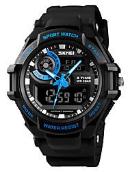 Недорогие -SKMEI Муж. Спортивные часы Армейские часы электронные часы Цифровой Стеганная ПУ кожа Черный 50 m Будильник Календарь Секундомер Аналого-цифровые На каждый день Мода - Черный Красный Синий / Один год