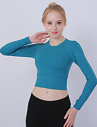 cheap -YUJIAN Women's Crop Top Solid Color Zumba Yoga Fitness Tee / T-shirt Long Sleeve Activewear Quick Dry Sweat-wicking High Elasticity Slim