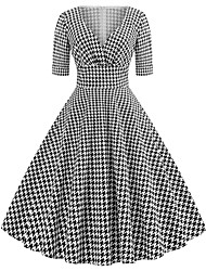 cheap -Women's Party Going out Vintage 1950s Street chic A Line Dress - Houndstooth Black & White, Print V Neck Spring Cotton Black L XL XXL / Sexy