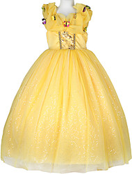 cheap -Belle Cosplay Costume Flower Girl Dress Kid's Girls' A-Line Slip Dresses Mesh Christmas Halloween Carnival Festival / Holiday Tulle Cotton Yellow Carnival Costumes Butterfly Lace