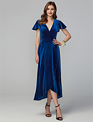 cheap -A-Line V Neck Asymmetrical Velvet Bridesmaid Dress with Split Front