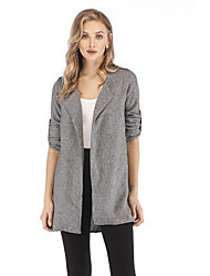 cheap -Women's Daily Street chic Plus Size Regular Trench Coat, Solid Colored Rolled collar Long Sleeve Polyester Gray