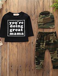cheap -Baby Boys' Active / Basic Daily / Sports Print Print Long Sleeve Regular Cotton Clothing Set Black / Toddler