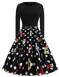 abordables -Audrey Hepburn Points Polka Rétro Vintage Années 50 Robe Femme Costume Noir Vintage Cosplay Retour Manches Longues Mi-long / 1 ceinture / 1 ceinture