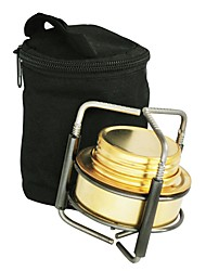 cheap -Single Cookware Sets One-piece Suit Lightweight Mini Folding for 1 person Coppery Stainless steel Outdoor Fishing Hiking Beach Gold
