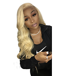cheap -Virgin Human Hair Full Lace Wig With Ponytail Beyonce style Brazilian Hair Body Wave Blonde Wig 130% Density with Baby Hair Soft Best Quality Updo with Clip Medium Length Human Hair Lace Wig