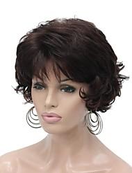 cheap -Synthetic Wig Curly Layered Haircut Wig Short Chestnut Brown Dark Brown / Dark Auburn Synthetic Hair 6 inch Women's Synthetic Brown