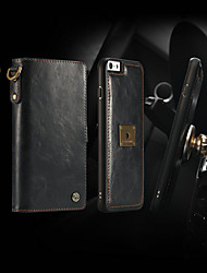 cheap -Case For Apple iPhone 6s / iPhone 6 Wallet / Card Holder / Flip Full Body Cases Solid Colored Hard PU Leather