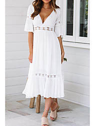 cheap -Women's Beach Flare Sleeve Swing Dress - Solid Colored V Neck Summer White S M L XL / Sexy