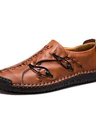 رخيصةأون -رجالي أحذية جلدية جلد ربيع & الصيف الأعمال التجارية / كاجوال المتسكعون وزلة الإضافات أسود / بني داكن / أصفر / الأماكن المفتوحة