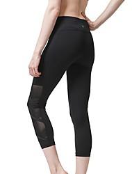 cheap -LINEBREAK Women's Yoga Pants Patchwork Capri Leggings Breathable Quick Dry Rose Pink / Blue Black Mesh Zumba Running Workout Sports Activewear High Elasticity Skinny