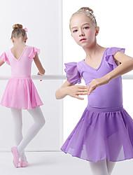 cheap -Ballet Skirts Ruching Wave-like Girls' Training Performance Short Sleeve Elastane Lycra