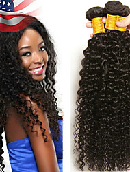cheap -3 Bundles Kinky Curly Human Hair Unprocessed Human Hair Wig Accessories Headpiece Natural Color Hair Weaves / Hair Bulk 8-28 inch Natural Color Human Hair Weaves Waterfall Soft Lustrous Human Hair