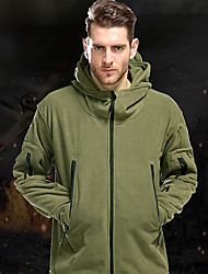 cheap -Men's Hiking Fleece Jacket Winter Outdoor Thermal / Warm Windproof Thick Softshell Jacket Fleece Single Slider Military / Tactical Hunting and Fishing Camping / Hiking / Caving Black / Army Green
