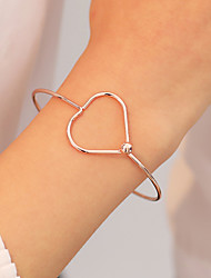 cheap -Women's Bracelet Bangles Classic Heart Simple Korean Fashion Alloy Bracelet Jewelry Rose Gold / Black / Gold For Daily Going out