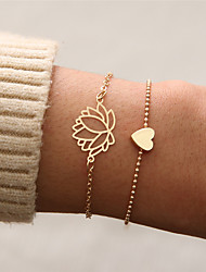 cheap -Women's Vintage Style Pendant Bracelet - Heart, Flower Punk, Casual / Sporty Bracelet Gold For Gift School / 2pcs