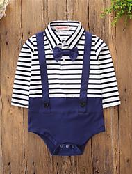 cheap -Baby Boys' Active / Basic Daily / Holiday Blue & White Striped Stripe / Basic Long Sleeve Cotton Bodysuit Blue / Toddler