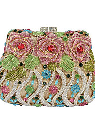cheap -Women's Bags PU Leather / Metal Evening Bag Crystals Flower Pocket for Event / Party Golden / Black / White / Silver / Light Gold / Rainbow / Wedding Bags