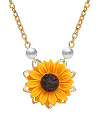 cheap -Women's Pendant Necklace Classic Flower Sunflower Ladies Simple Natural Sweet Imitation Pearl Alloy Rose Gold Gold Silver 48 cm Necklace Jewelry 1pc For Birthday Daily